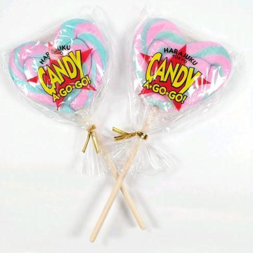 ハート型ロリーポップキャンディー(ピンク×水色)